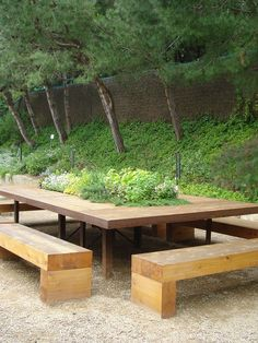 """Table and benches for Patio / Replace Plants with Open box storage with """"lids"""" / Orig Post: Make the most of your space with a built in herb garden on the table! Outdoor Seating, Outdoor Rooms, Outdoor Tables, Outdoor Gardens, Outdoor Living, Picnic Tables, Garden Seating, Patio Pergola, Backyard"""