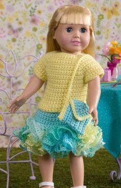Summertime Frills for Dolls Free Crochet Pattern from Red Heart Yarns for Springfield Dolls and other 18 inch dolls