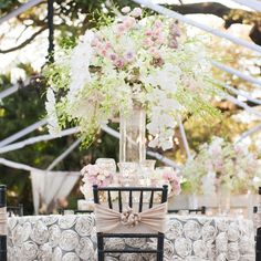 High romantic centerpieces | Brandy J Photography |  Bella Blooms Floral | www.theknot.com