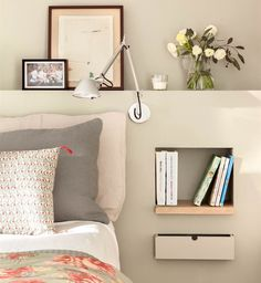 For big or small bedrooms a simplebeautiful and original bedside table! - Architecture and Home Decor - Bedroom - Bathroom - Kitchen And Living Room Interior Design Decorating Ideas - Room Design Bedroom, Bedroom Colors, Home Bedroom, Bedroom Furniture, Bedroom Decor, Bedroom Ideas, Custom Furniture, Bedroom Wall, Wall Decor