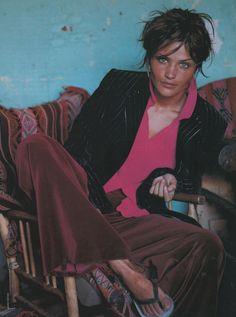 "Glamour France August 1992: Helena Christensen by Mario Testino   ""Au Perou chez les incas"" Model: Helena Christensen Photographer: Mario Testino Stylist: Carine Roitfeld Hair: Orlando Pita Makeup: Topolino"