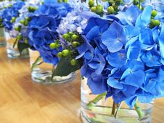 Vibrant blue hydrangea centerpiece. Little bit too bright but pretty.
