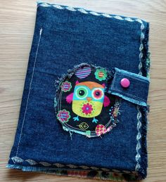 Owl Denim Cover Small Note Pads, Journal, Jacket, Reusable by DenimDelightsByLinda on Etsy