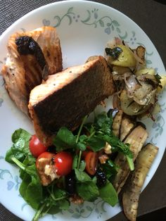 Pan-fried salmon with potatoes and Japanese eggplant