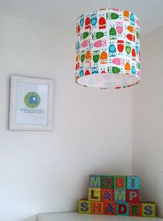 Owl lampshade woodland theme room children by mobilampshades