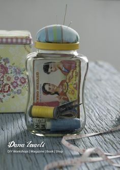 Transform an empty coffee jar into a pincushion jar. Designed and Photographed for NESCAFE brand by Dana Israeli