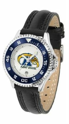 Kent State Golden Flashes NCAA Womens Leather Wrist Watch by SunTime. $72.95. Showcase the hottest design in watches today! A functional rotating bezel is color-coordinated to compliment your favorite team logo. A durable long-lasting combination nylon/leather strap together with a date calendar round out this best-selling timepiece.. Save 21%!