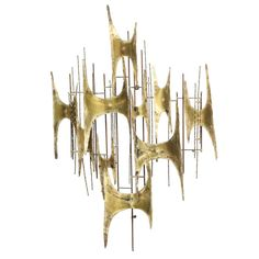 Brass Wall Sculpture by Curtis Jere, 1969 -- love the Niemeyer influence