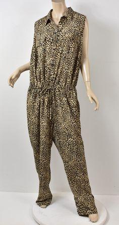a06436b3903b RALPH LAUREN Leopard Animal Print Drawstring Waist Safari Jumpsuit Jumper  22W  fashion  clothing