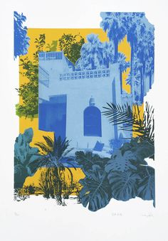 Blue Riad by Caitlin Parks is now available from Print Club London's online gallery and you can shop this print with FREE UK SHIPPING! Textile Prints, Art Prints, Block Prints, Linocut Prints, Silk Screen Printing, Screen Printing Artists, A Level Art, Fabric Painting, Painting Art