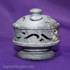 This Carved Incense Cup is adorable. For cone or stick incense (the flipped lid has little holes for sticks). It can also be used for a pedestal for your stones.
