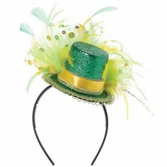 St Patrick's Day headband in green with feather detail. Measures 27.9cm x 25.4cm, one size fits most adults. St Patrick's Day themed party ideas, decorations, Irish St Patrick's Day fancy dress and tableware with shamrocks in Irish colours green white and orange