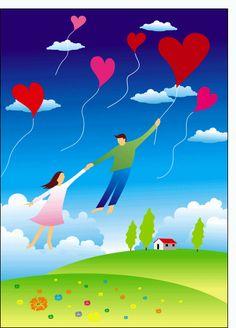 Carte Un amour au 7eme ciel pour envoyer par La Poste, sur Merci-Facteur !