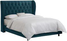 AmazonSmile - Skyline Furniture Velvet Queen Tufted Wingback Bed, Light Gray - Sleigh Beds