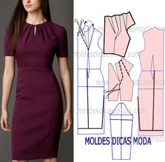 DIY Women's Clothing : molde vestido lilas -Read More – Sheath dress - pivot dart and slash for pleated neckline How to slash & spread to get these pleats on dress bodice What About Amazing Easy Sewing Projects ? 12 Sewing Patterns Tips Fashion Sewing, Diy Fashion, Ideias Fashion, Fashion Dresses, Fashion Tips, Diy Clothing, Sewing Clothes, Dress Sewing Patterns, Clothing Patterns