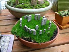 Miniature living garden with Stonehenge replica