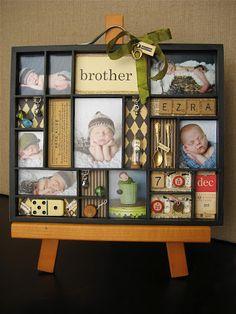 Photo tray - Oh Brother! Baby Scrapbook, Scrapbook Paper Crafts, Scrapbook Cards, Scrapbooking, Frame Crafts, Crafts To Do, Diy Crafts, Newborn Shadow Box, Diy Shadow Box