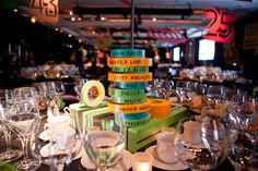 At the Cooper-Hewitt's National Design Awards in New York in 2011, designer David Stark used colorful rolls of tape supplied by 3M as seating cards. The rolls were stacked on rods atop the tables.  Photo: Richard Patterson/Courtesy of Cooper-Hewitt