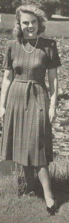 Ladies 1940s Knitted Dress with Tie Belt Vintage Knitting Pattern PDF Instant Digital Download