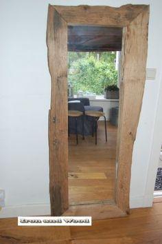 grote rustieke 1spiegel oude eiken wagondelen   Iron and wood