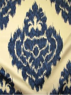 "Kalah Blue 5  Duralee Ikat Print Fabric. 100% Pima Cotton Sateen. Duraguard finish. 25"" up the roll repeat. 54"" wide. $16.95/yd"