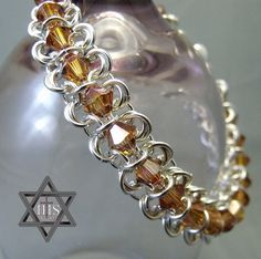 chain mail #bracelet with crystals
