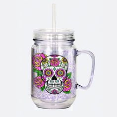 """Spoontiques """"Sugar Skull"""" Mason Jar, Multicolor 18 Ounce Capacity Each Jar Includes Screw on Lid and Straw Hand Wash Recommended For Hot and Cold Drinks Acrylic & BPA Free Sugar Skull Art, Sugar Skulls, Mason Jar Cups, Christmas Shopping List, Country Chic Cottage, Jar Art, Skull Fashion, Food Containers, Mugs"""