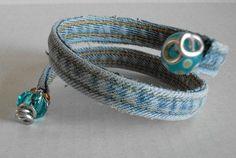 Upcycled Denim Wrap Bracelet with Charms by thREegreenart on Etsy, $12.50