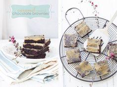 Chocolate brownies with caramel glaze