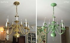 Brass chandelier makeover mischief creations pinterest brass diy brass chandelier makeover outdated brass to pistachio greend we love the results more pics info here aloadofball Images