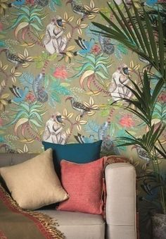 Cole and Son SAVUTI wallpaper cole and sons wallpaper monkey wallpaper jungle wallpaper lee jofa wallpaper savuti armore collection Tropical Wallpaper, Botanical Wallpaper, Graphic Wallpaper, Designers Guild, Eclectic Wallpaper, Monkey Wallpaper, Wallpaper Jungle, Cole And Son Wallpaper, Wallpaper Online