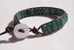 PinkBlueGreen cats eye wrap bracelet on leather by dzinebug, €20.00