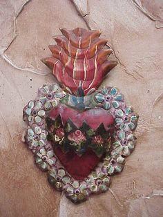 Tin Sacred Heart- Mexican Folk Art sculpture idea