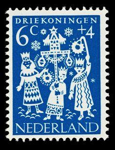 1961 | Hil Bottema | blauw | Driekoningen, kinderen, lampion