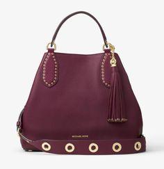 NWT Michael Kors Brooklyn Large Leather Shoulder Plum Bag $498…