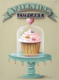 Un cupcake dolce per il vostro San Valentino speciale! Questo cupcake giallo è accumulato alta con glassa rosa soffice e accentati con il cuore a forma di caramella e spruzza perla bianca. Questa creazione capricciosa è visualizzata su un supporto di torta turchese e coperto con una cloche di vetro con una manopola a forma di cuore rosa. Piccoli cuori rosa pendono dal bordo del piatto torta.    Questa stampa dal mio dipinto originale misura 7 5/8 pollici x 10 pollici ed è centrata su un 8…