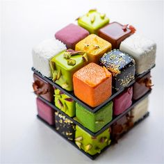 Rubik's cube cake by Pastry Chef Cedrik Grolet.