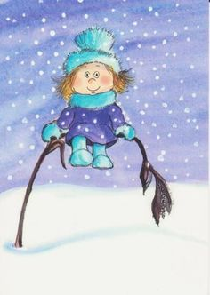 Postcrossing postcard from Finland Christmas Books, Christmas Pictures, Winter Christmas, Winter Illustration, Illustration Girl, Winter Cards, Beatrix Potter, Whimsical Art, Winter Scenes
