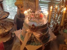 Oh so elegant Cinderella birthday cake I made for my daughter's 10th birthday party!