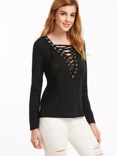 Camiseta con cuello en V con cordones rota-Sheinside