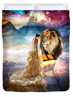 Lion of Judah, Bride of Christ with treasure chest. The Glory Season Duvet Cover by Dolores Develde Lion Of Judah Jesus, Braut Christi, Lions Indomptables, Lions Gate, Aura Colors Meaning, Lion Wallpaper, Jesus Art, Bride Of Christ, Color Meanings