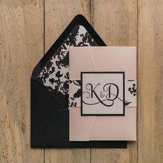 ADELE Suite Floral Pocket Folder Package, watercolor, blush, pocket folder wedding invitation with elegant script font