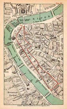 1908 Lithograph Map Plan Italy Rome tiber River Ponte Sisto St Angelo Hadrian | eBay $37.95