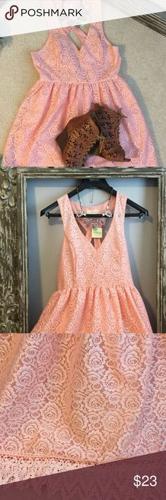 NWT Altar'd State peach floral lace dress❤️❤️❤️❤️ NWT Altar'd State peach floral dress with crochet detail at bottom as shown in third picture. Zipper in back to put on. Never worn. Altar'd State Dresses Midi