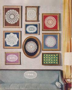 Quadros com toalhinhas de crochê - Framed crochet doilies - Gosto Disto!