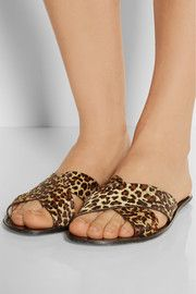 St. Tropez leopard-print calf hair sandals
