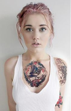 Girl with cool chest piece. #tattoo #tattoos #ink