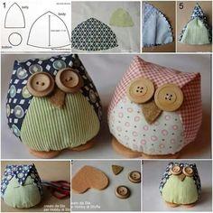Artesanatos com Moldes: Corujas com moldes Crochet Crafts, Fabric Crafts, Sewing Crafts, Owl Crafts, Diy And Crafts, Owl Patterns, Sewing Patterns, Owl Sewing, Fabric Birds