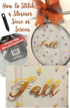 Tips and tricks on how to cross stitch or embroidery on screens like strainers, sieves, splatter guards or window screens. Cross Stitching, Cross Stitch Embroidery, Cross Stitch Patterns, Design Squad, Splatter Screens, Fall Projects, Diy Projects, Embroidered Leaves, Burlap Bows