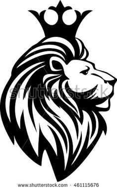 lion with crown clipart black and white Tribal Lion Tattoo, Lion Head Tattoos, Rhino Tattoo, Black And White Lion, Clipart Black And White, Lion Tattoo With Crown, Lion Stencil, Lion Noir, Crown Drawing